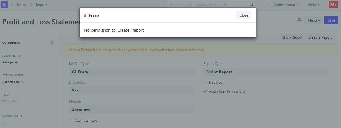 customize p l report on saas web hosted reports discuss frappe