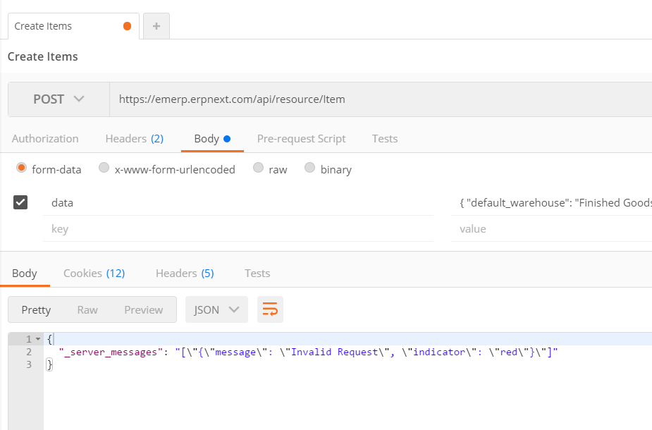 REST Example in Postman to create an Item? - ERPNext