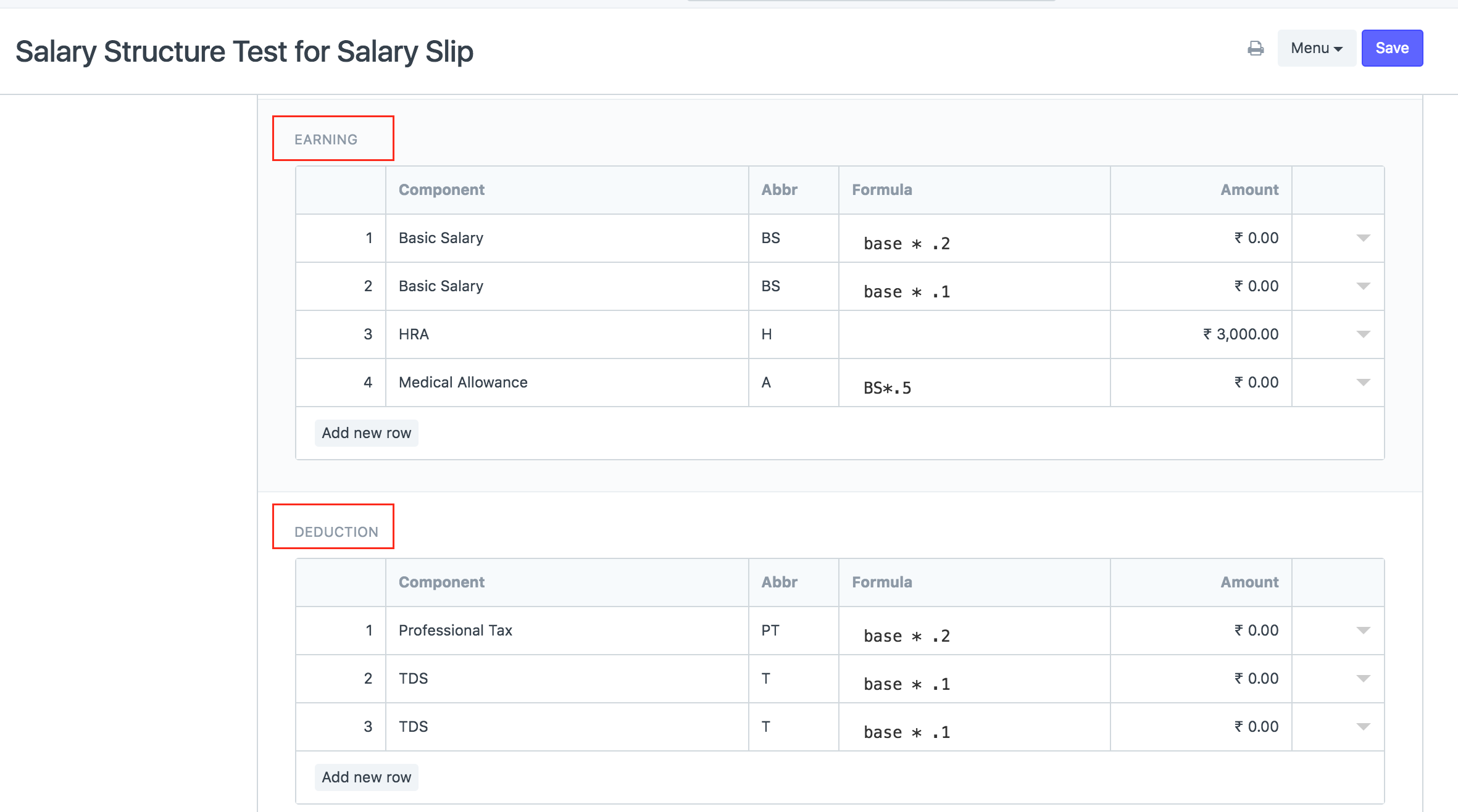 Add earning / deduction types in salary structures for 7 1 - HR
