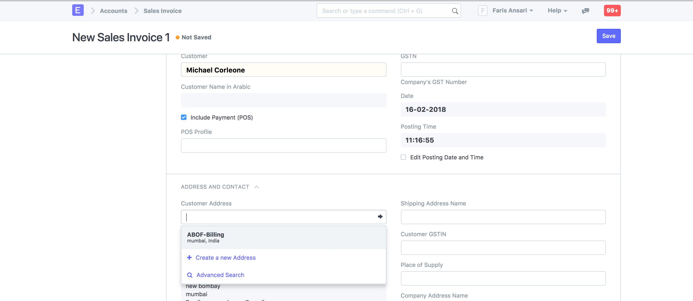 billing and shipping address in sales invoice discuss frappe erpnext
