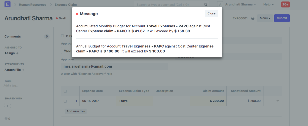 Cost Center Not Work With Expenses