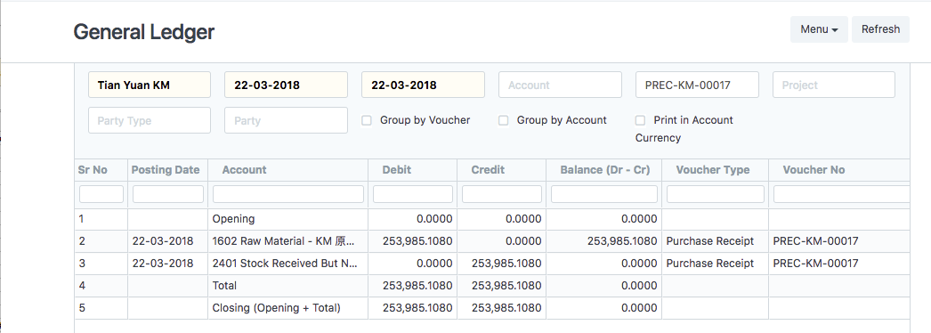 BUG: Purchase Receipt Accounting Ledger - Bug - Discuss Frappe/ERPNext